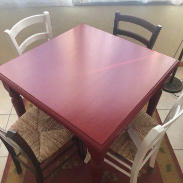 Tavolo laccato rosso